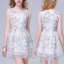 wholesale hot sale women apparel summer fashion clothing organza embroidered dress