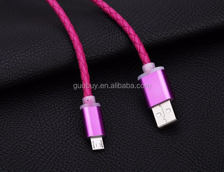 PU Leather Micro USB Cable Charging Data Sync Cord 1M 5V 2.1A for Samsung Android phone