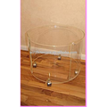 507107 Hand finished round acrylic side table with casters