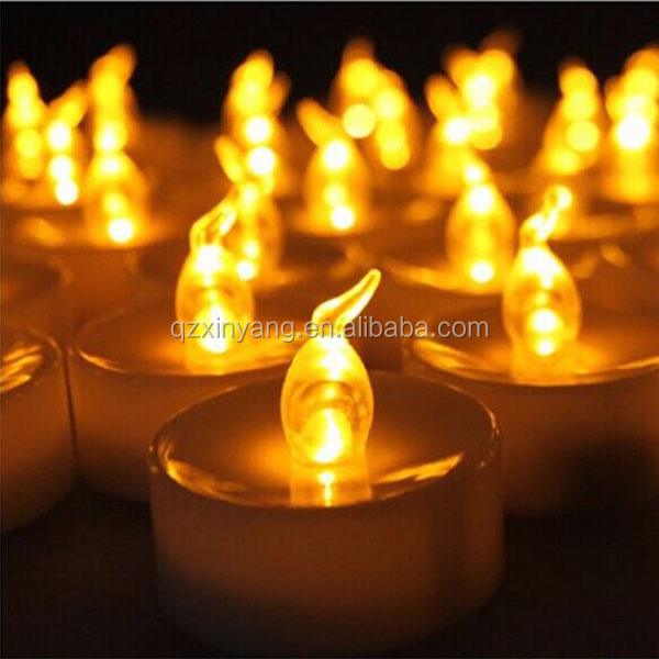 Yellow Flickering Flameless Bars Electric Led Tea Light Candle With Timer Function