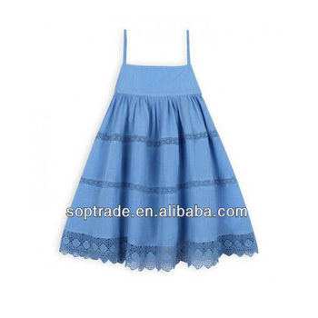 Spaghetti strap children beach dresses blue lovely girls mini casual dress