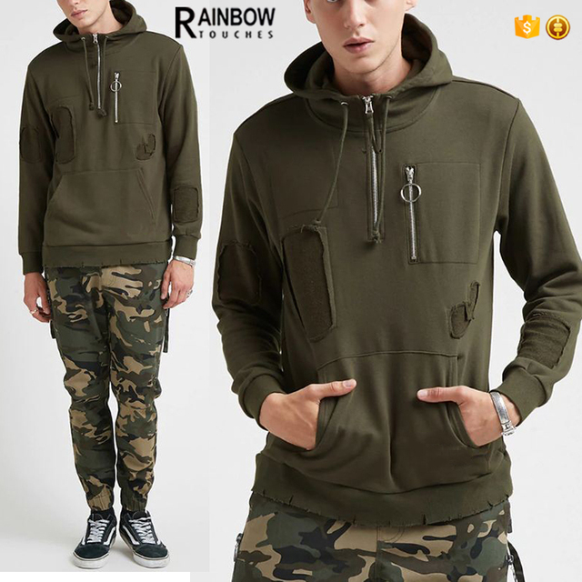 Wholesale Custom Made Blank Half Zip Up Ripped Hoodies For Men With Chest Pocket