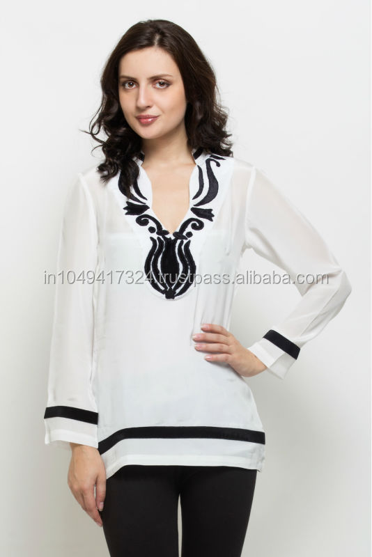 Ladies Black and White Kurti, Summer Kurti with Velvet Panel for Ladies, Exclusive part Wear Kurti