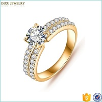 18K Gold Plated High Qualty Copper Zircon Diamond Simple Latest Gold Ring Designs