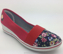 woman shoes of new design blue cloth with flower +elastic wedges comfortable
