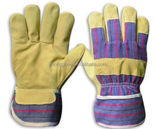 Large gray and blue economy split leather palm gloves