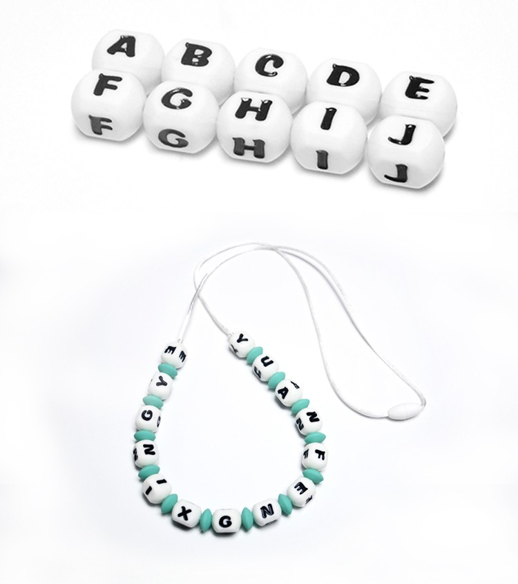 Wholesale Food Grade Silicone Beads Letter Loose Beads