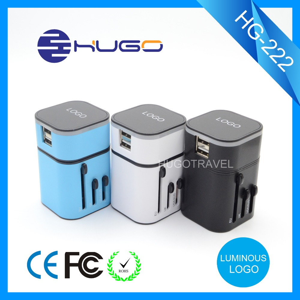 New year Top selling gift world mains Universal travel adapter with 2 usb
