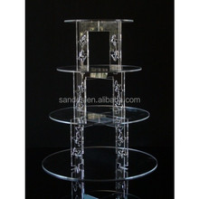 Circle Plates and High Heel Pillars Acrylic Wedding 4 Tiers Cake Display Shelfs