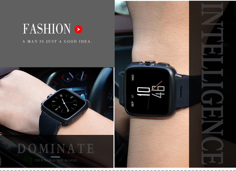 Bluetooth Android 5.1 Smartwatch IP65 Waterproof Cheap GSM 2100 Smart Watch 512MB + 4GB - Black