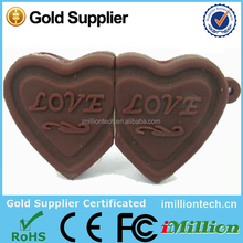sweet chocolate usb in heart shaped, customized pvc usb memory