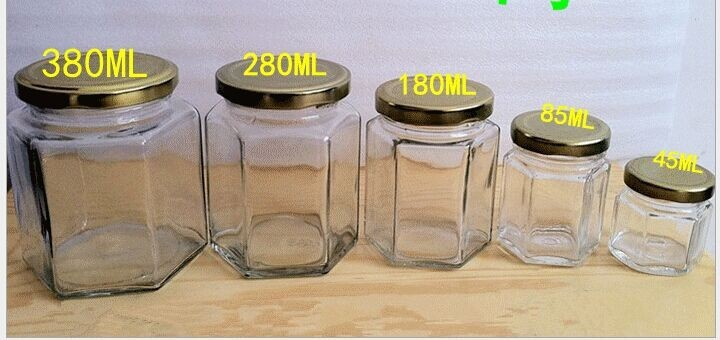 hexagon bottles with plastic / alu lids