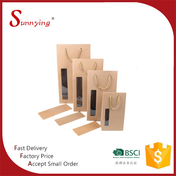 Die Cut White Brown Kraft Paper Craft Gift Packaging Box With Clear PVC Window
