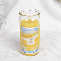 14cm High Glass Rich designs Catholic Candles
