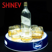Battery Power Light Up Bottle Led Serving Tray With Stand