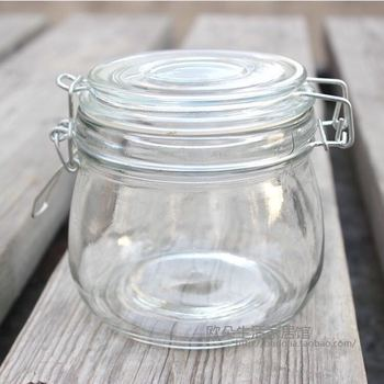 2017 hot sale extremely high glass honey pot/ apothecary glass jar/ candy jar with lid
