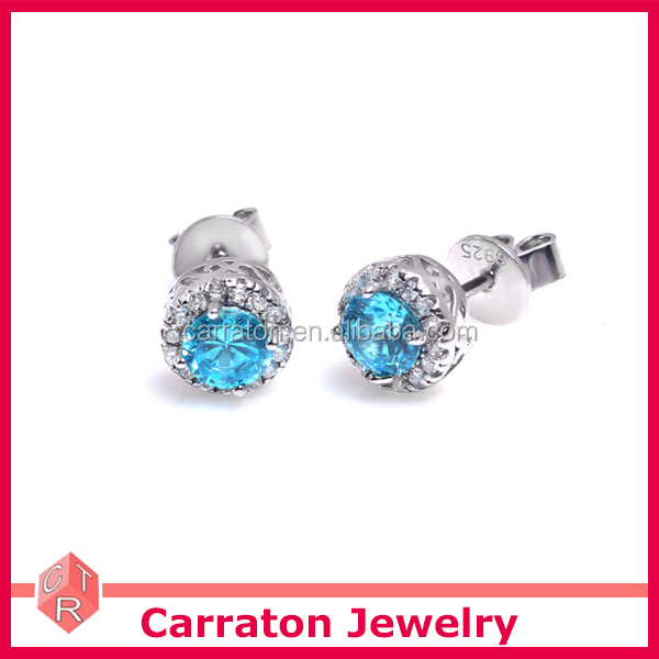 Rhodium Plated Round Shape Aqua Blue Cubic Zircon Earring with Push Back Jewelry Wholesale