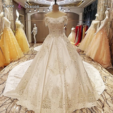 LS64890 Sleeveless cathedral train corset top lace royal dubai wedding gown dresses for godmother