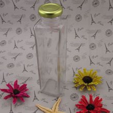 beverage use square empty glass juice bottle with metal caps wholesale