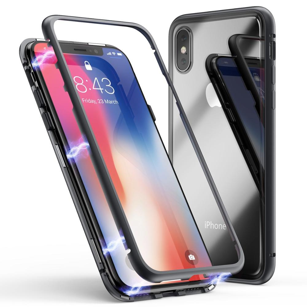 magnet phone case for iphone x xr xs <strong>max</strong> , 2018 new Plastic or metal Frame and clear tempered glass back cover