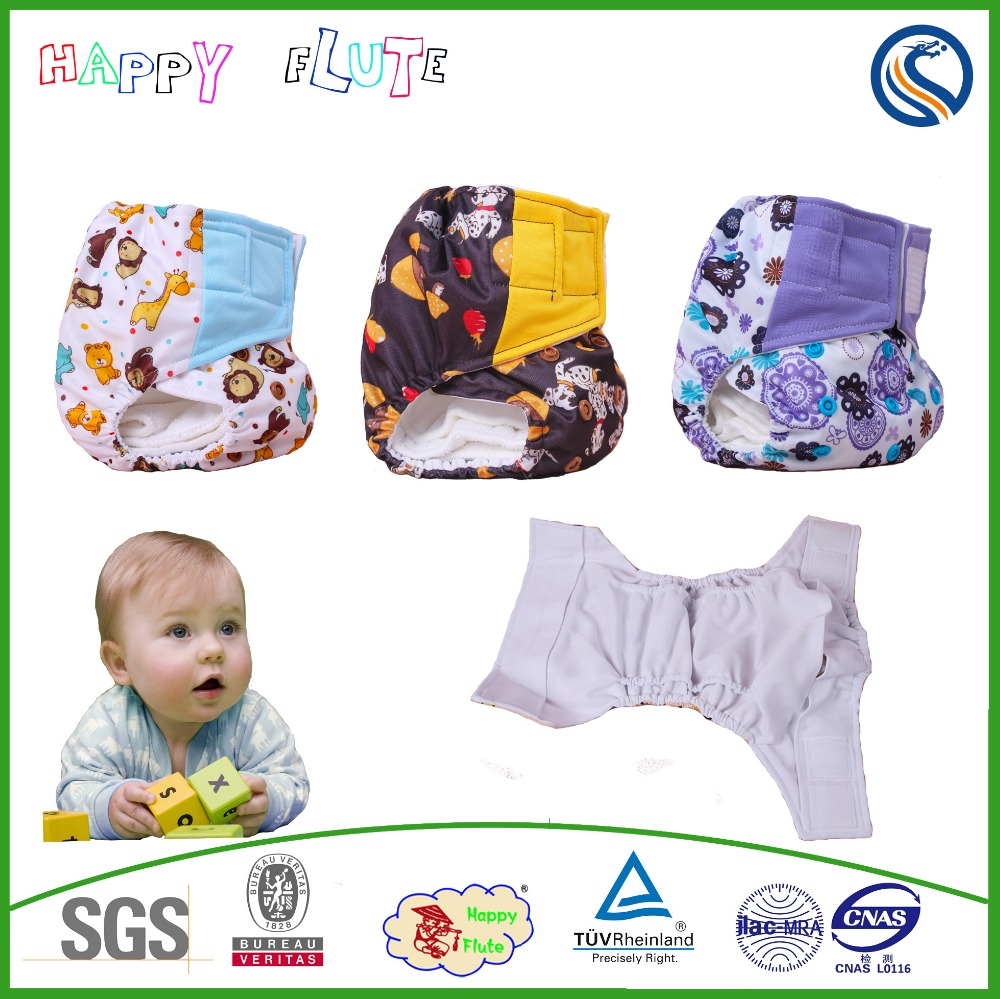 Happy flute waterproof fabric print PUL cloth diaper make factory price china import
