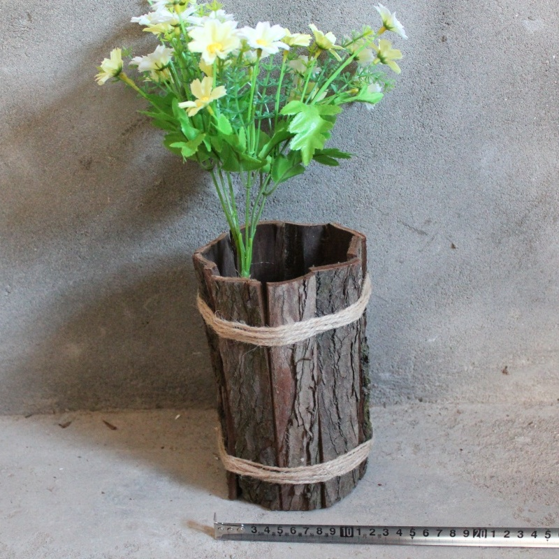 Natural solid wood plant pot with tree bark outdoor pots and planters art wooden flowerpot
