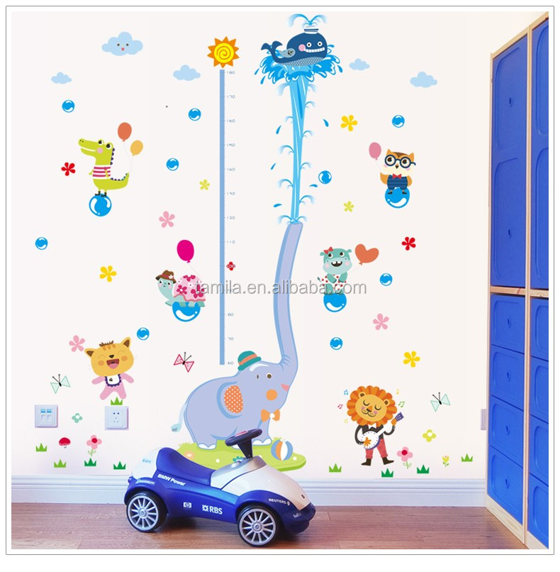 Extra large size lovely and funny kids height growth chart wall sticker
