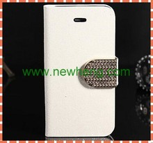 Diamond Bling Flip Leather Phone Case for iPhone5