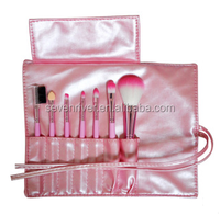 travel cosmetic mini brush sets 7pcs with pink bag