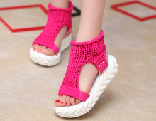 zm40055b new model hand-knitted fancy women sandals shoes 2017