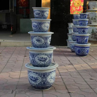 Decal jingdezhen chinese porcelain antique ceramic flower pots with plate