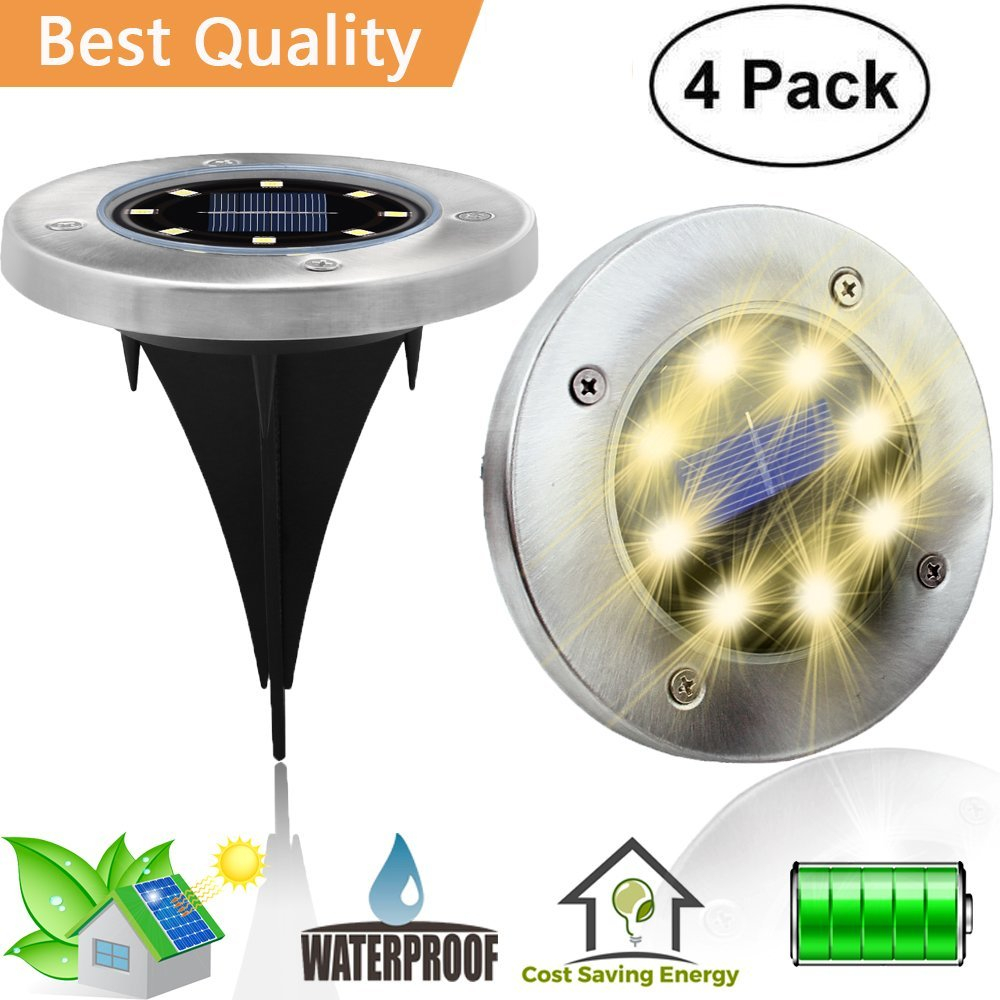 Factory direct Upgrade 8 LED Solar Pathway Lights Waterproof wireless Solar Ground Garden Lights Outdoor