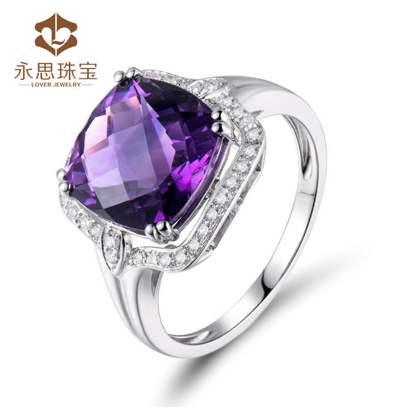China Factory Wholesale Fine Jewelry Gemstone Natural Amethyst Cushion 10mm Ring In Solid 18k Diamond Gold Jewelry SR0425