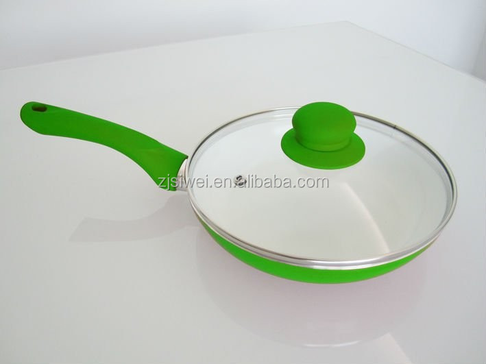 Salable Aluminium ceramic coating colorful fry pan with lid with reasonable price