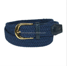 China Webbing BeltsMen's Elastic Fabric Woven Stretch Belt Leather Inlay Multi-Color options