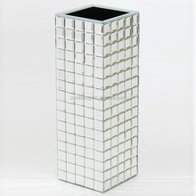 Top quality cheap silver tall flower mirror mosaic vase for sale