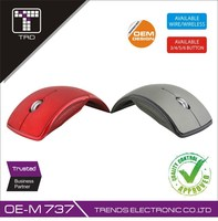 Unique Red Metallic 2.4G Wireless Optical Arc Mouse FTM-WA10 Arc Fold Mouse