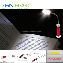 ABS Head and Aluminium Holder Magnet In the Bottom Powered by AAA Battery Flexible 1W COB LED Book Light