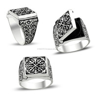 925K Sterling Silver Art Design Carved Men Pill Box Ring Handmade