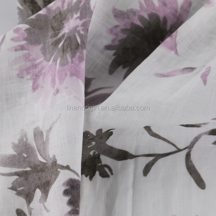 wholesale 100% linen fabric screen printed for women's garment