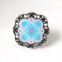 Vintage Silver Printed New Design Pattern Fashion Ring