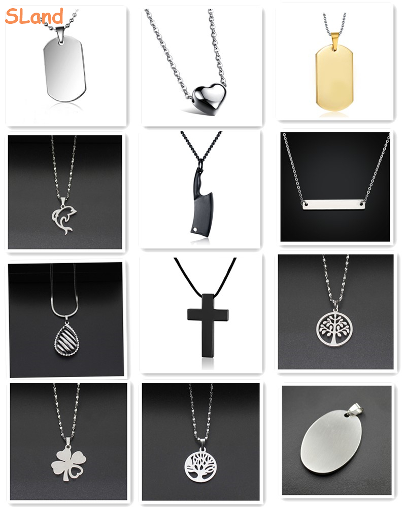 SLand Jewelry Low MOQ wholesale high polished religious jesu charm 316L stainless steel cross pendant for men necklace