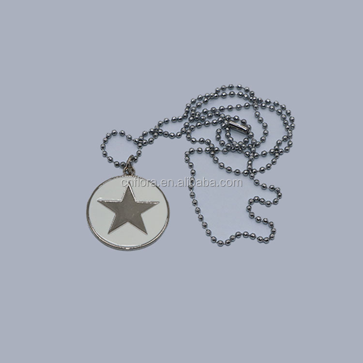 Wholesale round metal dog tag with five star pattern logo