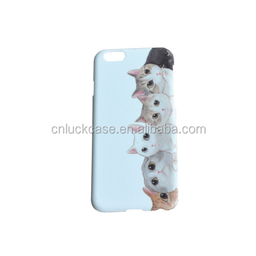 Adorable cat back cover plastic water paste phone case for iPhone 6/6s/6p