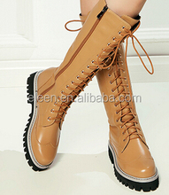 Ladies casual long boots with cow leather upper