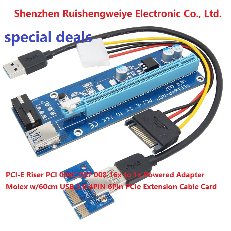 special deals PCI-E Riser PCI 006C <strong>007</strong> 008 16x to 1x Powered Adapter Molex <strong>w</strong>/60cm USB 3.0 4PIN 6Pin PCIe Extension Cable Card