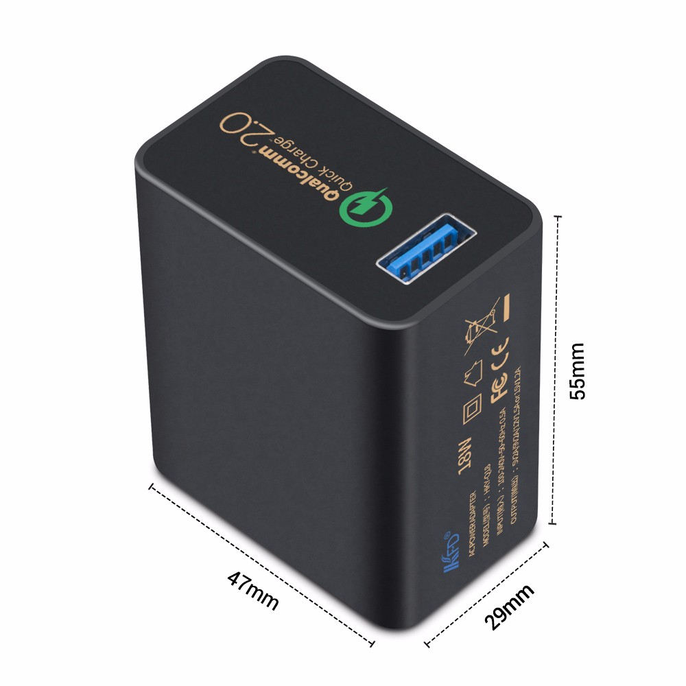 Qualcomm Certified Fast 1 Port Usb Wall Charger 18w Eu.us.uk Plug With Quick Charge 2.0 Technology