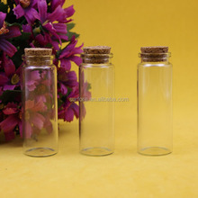 25*70mm empty straight long wishing bottles clear glass test tube bottles with cork