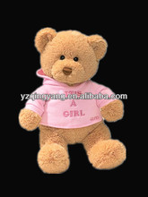 Hot selling valentine day gifts stuffed soft plush girl and boy teddy bear toy with T-shirt