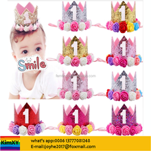 Glitter Girl First Birthday Decor for Priness Pink Birthday Hat Baby Hair Accessory ALJYSY38